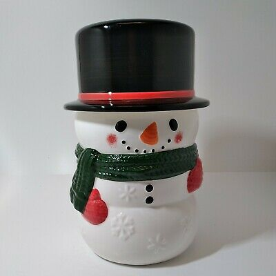 Yankee Candle SNOWMAN Jar Candle Holder Medium / Large COOKIE JAR NIB RETIRED