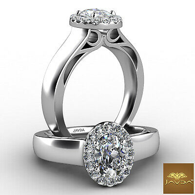 French U Pave Halo Oval Diamond Engagement Filigree Wedding Ring GIA E VS2 0.7Ct