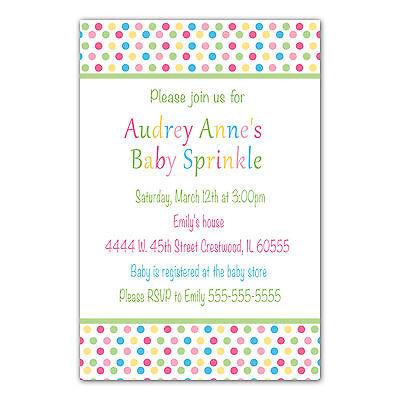 30 Polka Dot Invitation Cards Baby Shower or Sprinkle Invite Girl Boy Custom A1 - Sprinkle Baby Shower Invitations