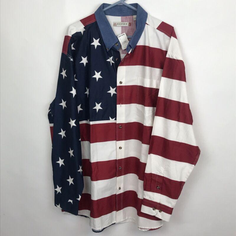 Roper Mens Patriotic Stars & Stripes American Flag Long Sleeve Button Shirt 2XL