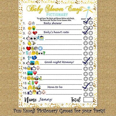 Baby Shower Games Fun Emoji Game 40 Cards for Girls Boys Baby Shower Party  - Emoji For Girls
