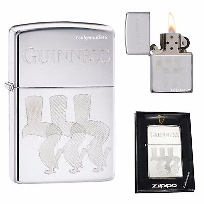 NEW ZIPPO  GUINNESS LIGHTER HIGH POLISH CHROME WIND PROOF 29648 MADE IN USA