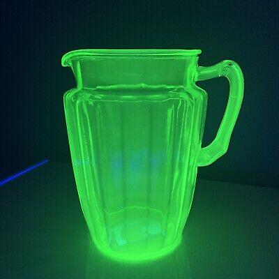 SUPERB Lrg Anchor Hocking Uranium Green Vaseline Glass Pitcher W/ Fancy Handle!