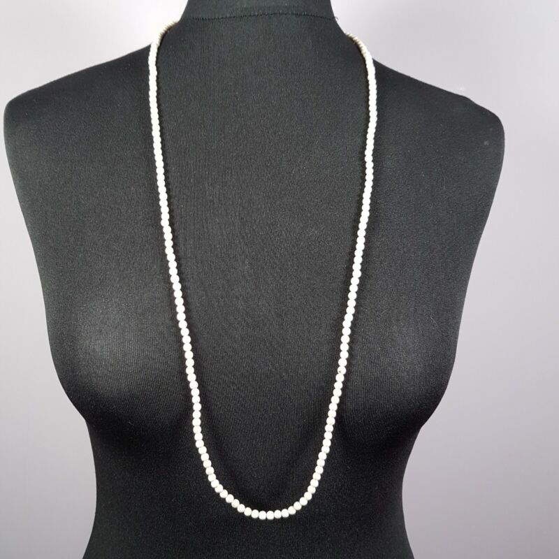 VINTAGE Art Deco Necklace Matinee Length Fine Small Stone Beaded Dainty Flapper