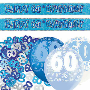 Blue silver glitz 60th birthday banner party decoration for 60th birthday decoration