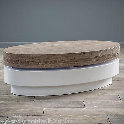 Modern Design Oval White Hi-Gloss Swivel Rotating Top Coffee Table