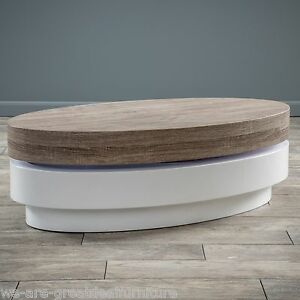 Design Oval White Hi Gloss Swivel Rotating Top Coffee Table EBay