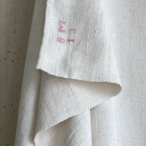 SOFT HEAVY antique French linen sheet NUBBY heavy 1800