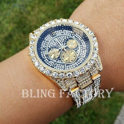 Iced Hip Hop Black Dial Lab Diamond Gold plated Metal clubbing Urban Style Watch