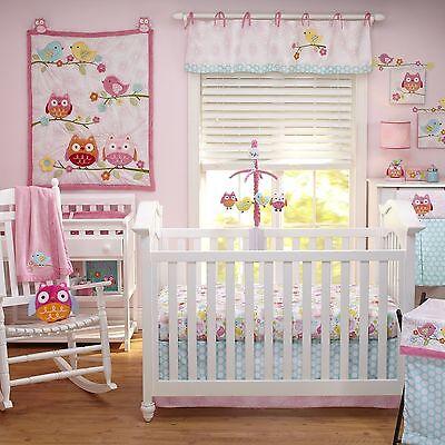 NoJo Love Birds Owls 4 Piece Crib Bedding Set Baby Girl Gift