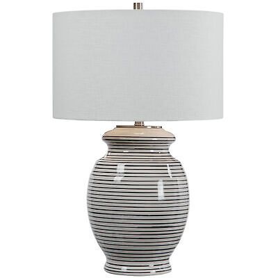 Luxe Navy Blue Off White Striped Ceramic Table Lamp| Coastal Round Traditional Stripe Ceramic Table Lamp