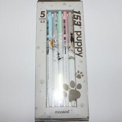 Monami 153 Ballpoint pen 0.5mm 5 colors puppy Edition set