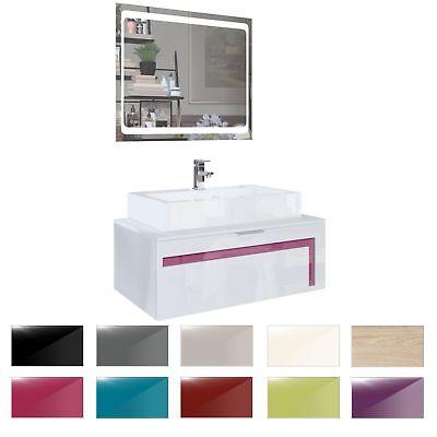 Waschtisch-waschbecken (Badezimmer Schrank Waschtisch Waschbecken Unterschrank Spiegel LED Aloha V2 Weiß)
