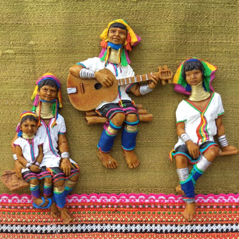 Karen resin hand painted hill tribe collectibles gift white color lot of 3