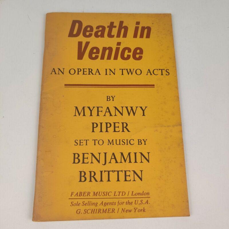 Vintage G. Schirmer  1973 Death In Venice, Myfanwe Piper Opera Libretto
