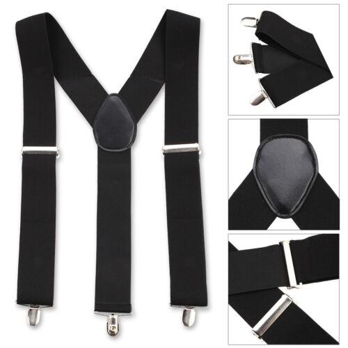 Gents Mens 50mm Wide Adjustable Braces Suspenders Elastic Plain Colours Classic
