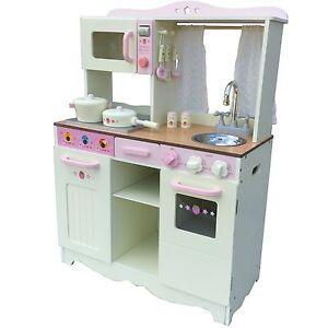 Vintage cucina per bambini gioco in legno crema con for Accessori per cucina in legno