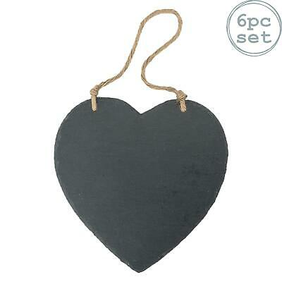Box of 6 Nicola Spring Small Hanging Decorative Heart Label Slate Tag
