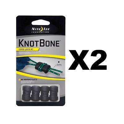 Nite Ize KnotBone Cord Lock #3 Black Knot-Free Light Durable (2-Pack of 4) ()