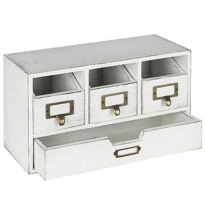 Mygift Vintage White Wood 4-drawer Desktop Organizer