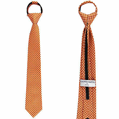 New Kids Boys Zipper up Adjustable Pre-tied Necktie Orange Black Plaid - New Boys Zipper