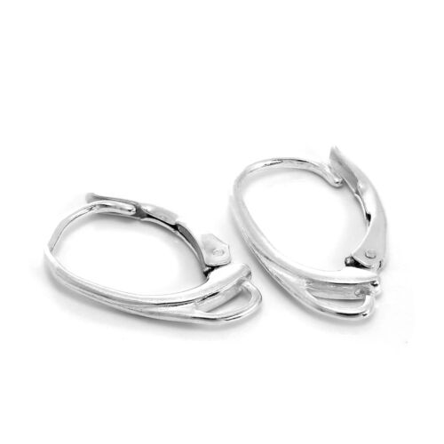 Sterling Silver 925 Leverback Earring Hooks 15x2mm Plated findings with CZ