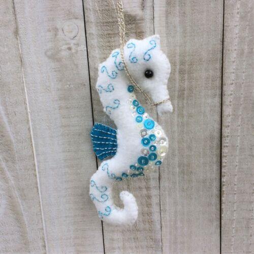 Christmas Seahorse Ornament  Holiday Felt Embroidery Kit Sequins Aqua Blue