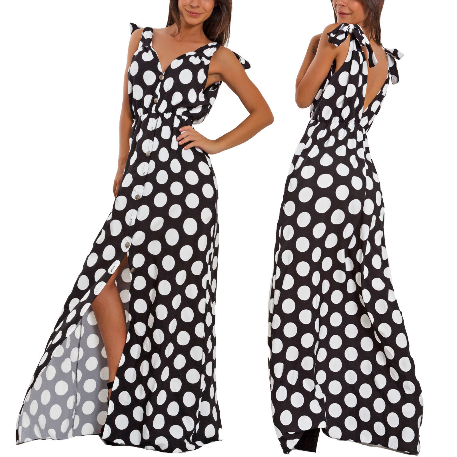 reputable site 1dd56 99fa3 Dettagli su Vestito donna lungo pois pinup scollato spacco abito elegante  cerimonia WD-8615