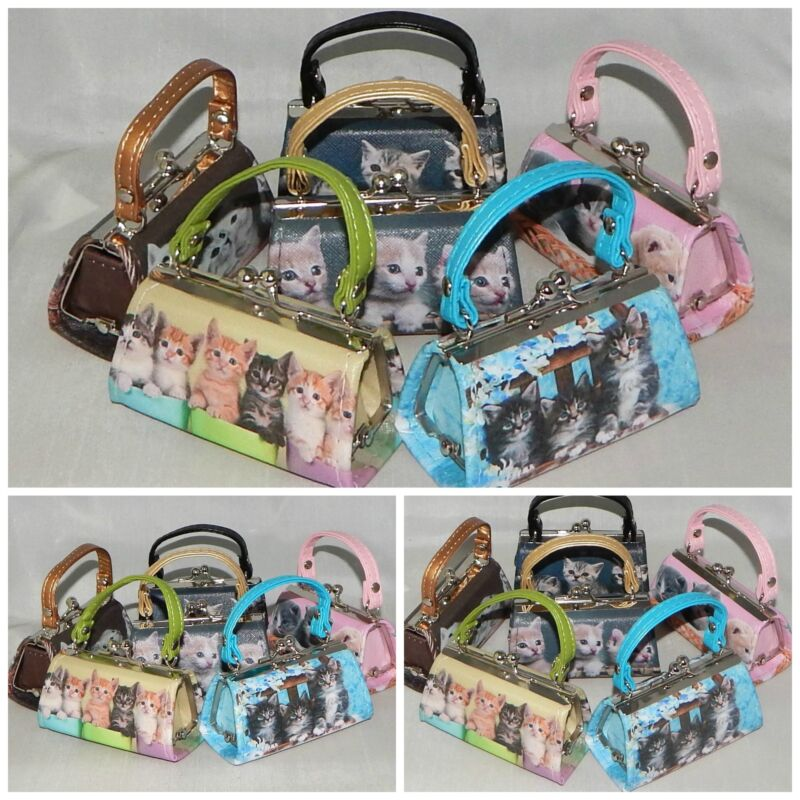 WHOLESALE Lot of 6 KITTENS CATS LITTER Mini Purse Lipstick Coin PARTY FAVORS