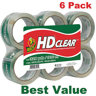 Duck Hd Clear Heavy Duty Packaging Tape Refill 6 Rolls 1.88 Inch X 54.6 Yard