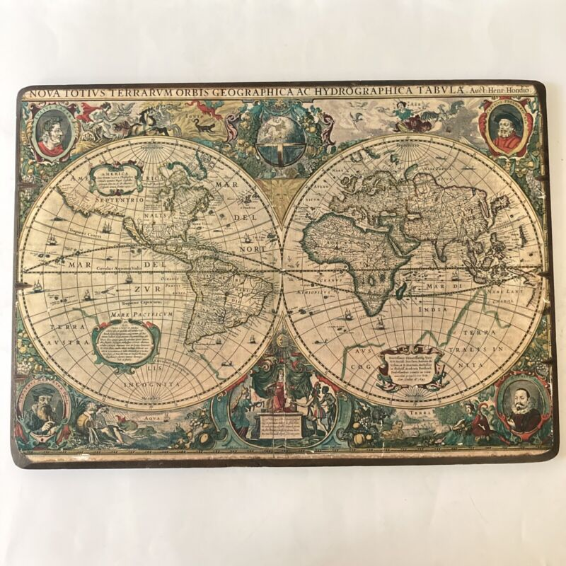 Old World Map Wood Wall Plaque Hydrographica Tabula Antiquity Collection 1963