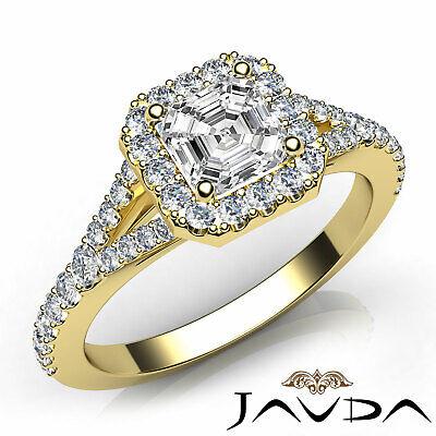 French Set Pave Split Shank Halo Asscher Diamond Engagement GIA G VVS2 Ring 1 Ct 7