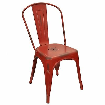 New Viktor Steel Restaurant Chair With Distressed Kelly Red Finish