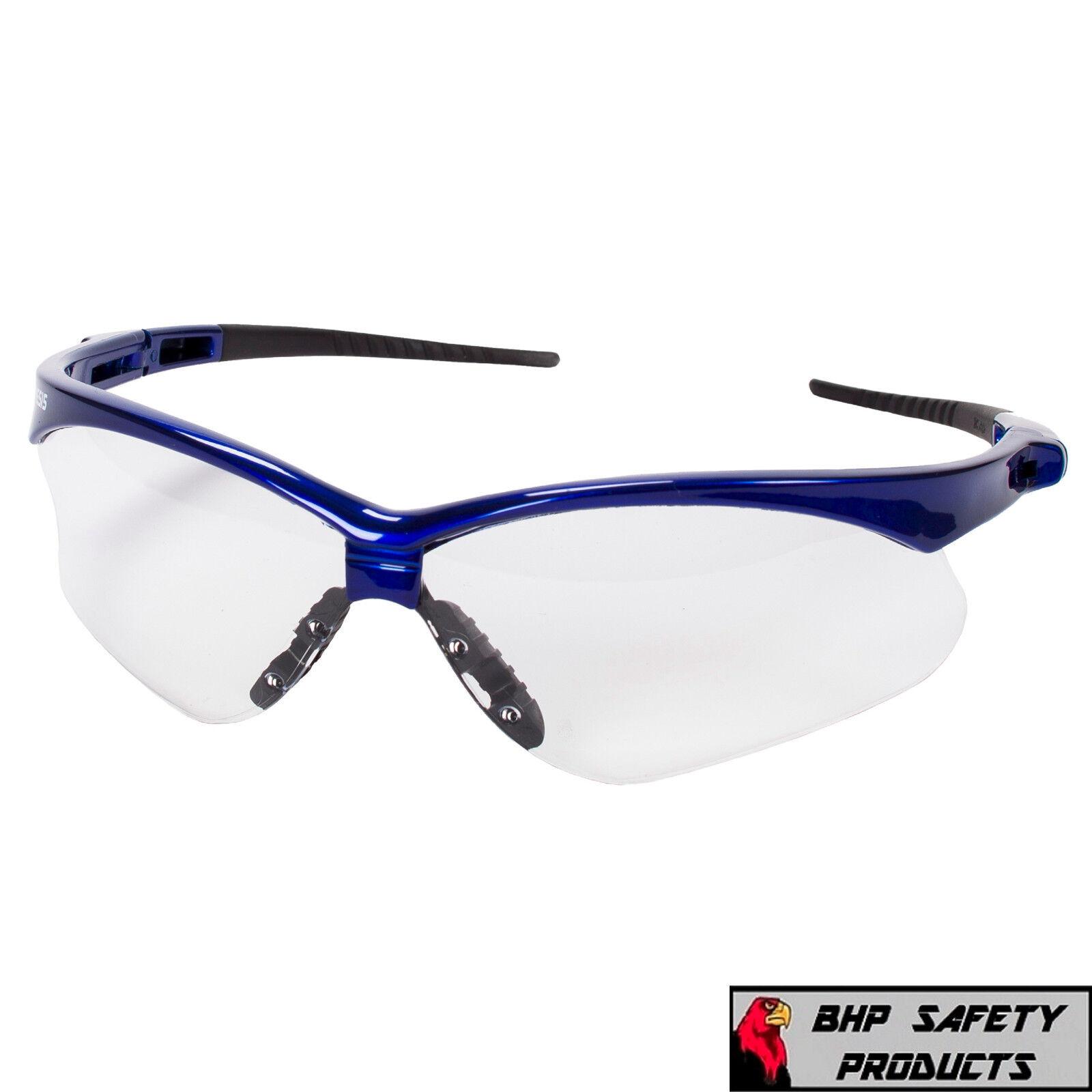 JACKSON NEMESIS SAFETY GLASSES SUNGLASSES SPORT WORK EYEWEAR ANSI Z87 COMPLIANT 47384- Blue Frame/Clear AF Lens