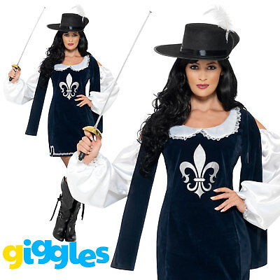 Musketeer Costume & Hat French Cavalier Soldier Womens Ladies Fancy Dress Outfit