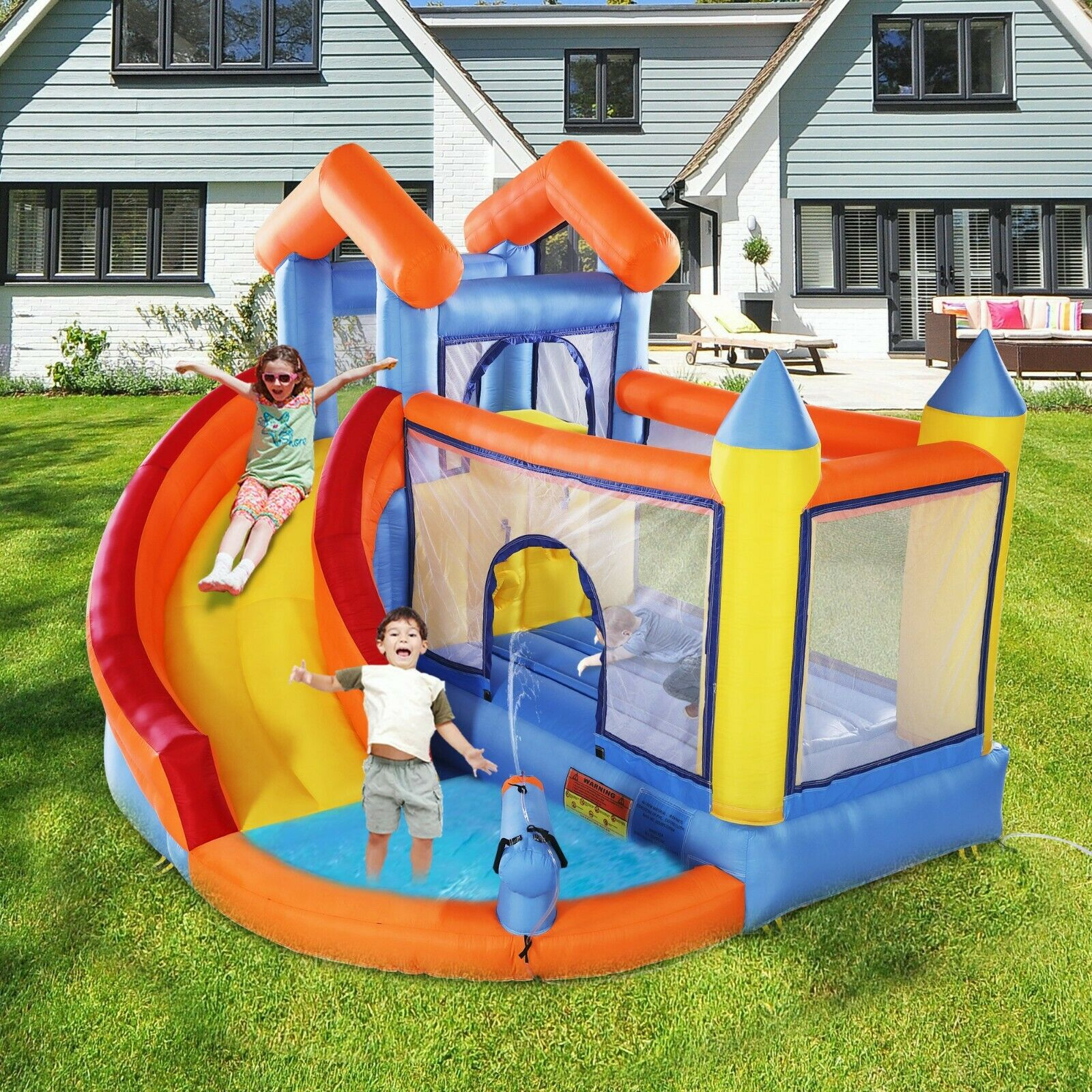 Inflatable Mighty Bounce House Castle Jumper Blower with Sli