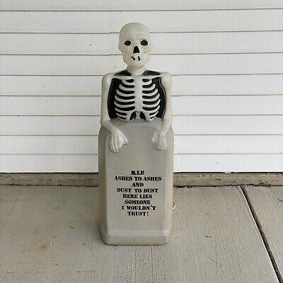 "Vintage Empire 34"" R.I.P. Skeleton Behind Gravestone Lighted Halloween Blow Mold"