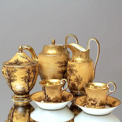 Dagoty, Paris: Kaffeeservice Landschaften Grisaille, Empire, Frankreich tea set