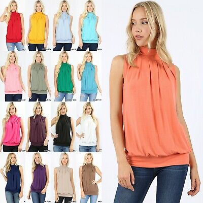 Zenana Pleated Top Sleeveless MOCK HIGH NECK Soft Knit Office Work Shirt Blouse Pleated Knit Top