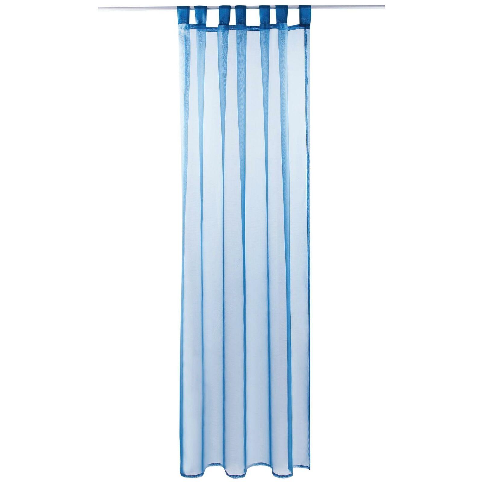 Schlaufenschal Vorhang mit Schlaufen Transparent Voile Uni Gardine große Auswahl blau - mittelblau