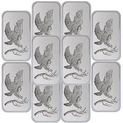 SilverTowne Trademark Bald Eagle 1oz .999 Fine Silver Bar LOT OF 10