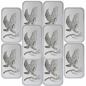 SilverTowne Trademark Bald Eagle 1oz .999 Fine Silver Bar LOT OF 10