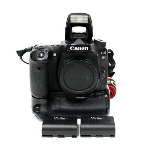 Canon EOS 80D 24.2MP DSLR Camera - Black w/ Grip & 2x Batteries | Please read