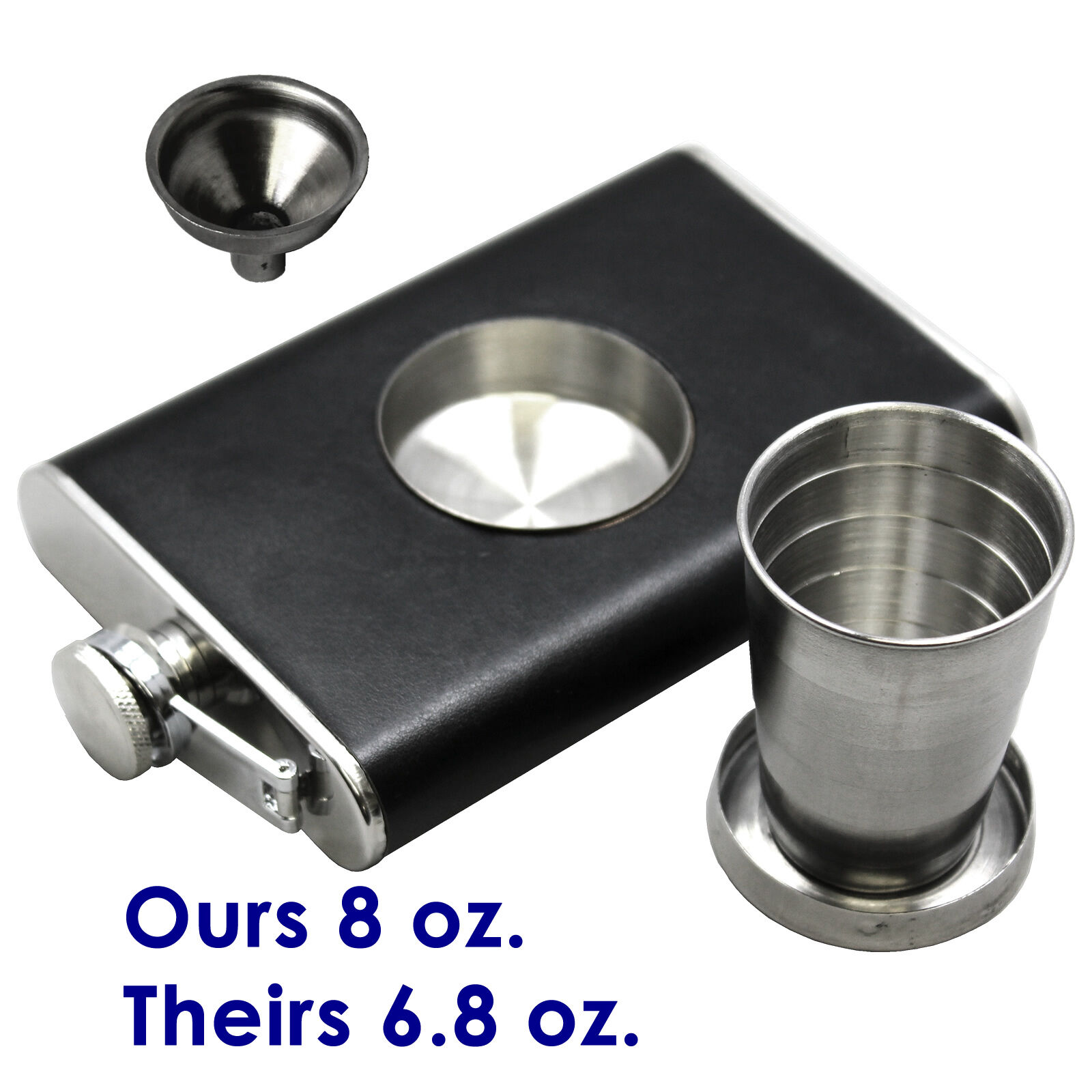 Leather Clad Stainless Steel Flask with Funnel /& Built-in Collapsible Shot Glass