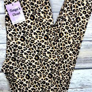 PLUS Cheetah Leopard Leggings Animal Printed Buttery Soft Curvy 10-18 TC