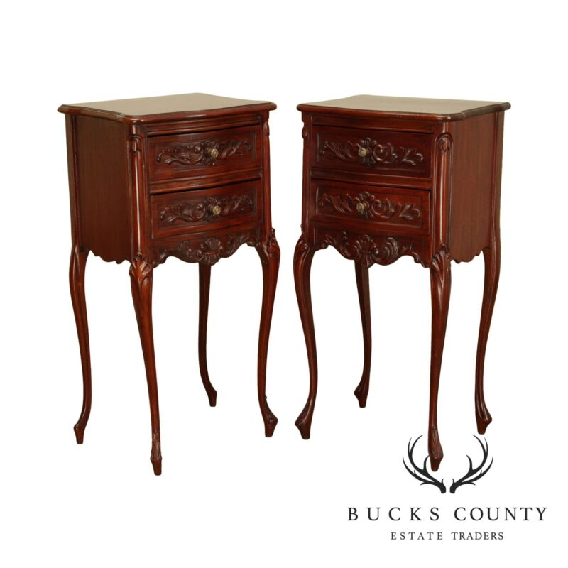 French Louis XV Style Carved Mahogany Pair 2 Drawer Side Tables, Nightstands