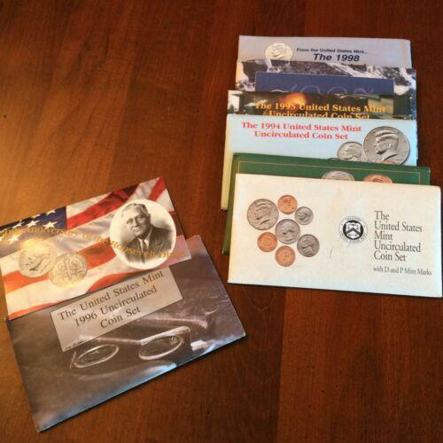1992-1998 US Mint Sets. Complete run 7 sets, including 1996-W dime