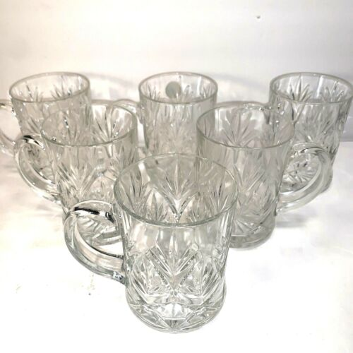 6 PAUL SEBASTIAN CRYSTAL MUGS