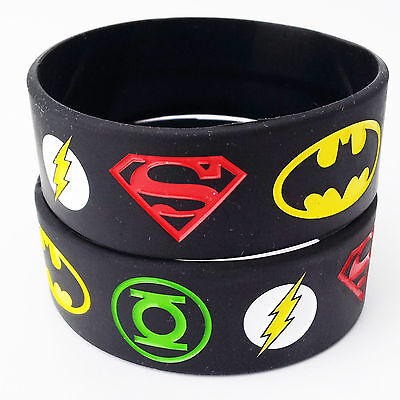 Cheap Silicone Wristbands (The Superman Batman Green Lantern Flash Silicone Rubber Wristbands)