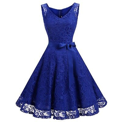 Women Floral Lace Bridesmaid Party Dress Short Prom Dress Vneck Retro Swing Gown